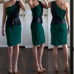 Emerald green black faux leather peplum dress